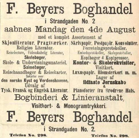 F. Beyers Boghandel aabnes Mandag den 4de August