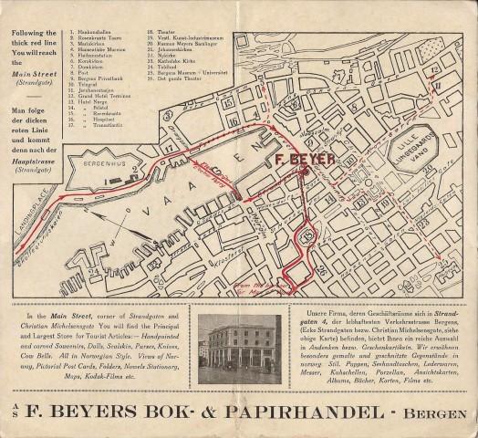 Reklamefolder for F. Beyers Bok og Papirhandel